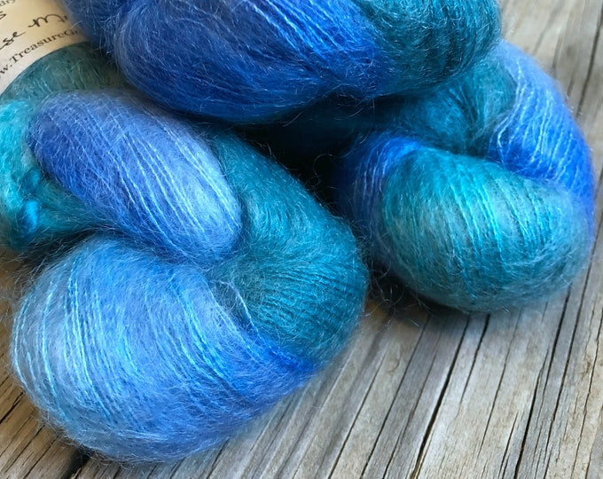 hand dyed kid silk treasures lace yarn brushed kid mohair silk yarn bad arse mermaid teal turquoise green lace weight yarn