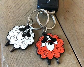 Pirate Sheep Enamel Keychain, orange or white sheep