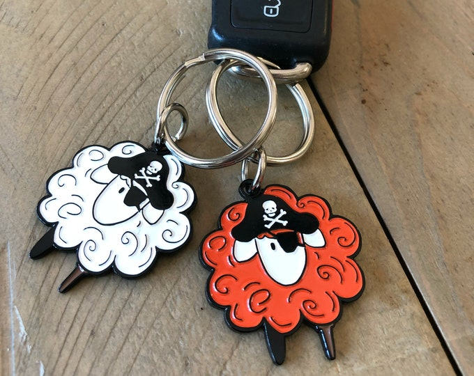 "Pirate Sheep Enamel Keychain 1.5"" one and a half inch keychain for knitters, crocheters, spinners or pirates"