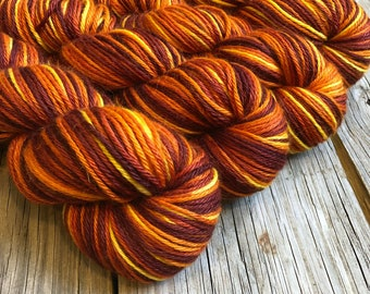 sunset yellow orange red cashmere silk alpaca yarn, Hand Dyed DK Yarn, Sailing into the Sunset, Treasured DK Luxe