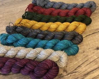 Yak Toes Mini Skein Set, Hand Dyed Sock Yarn, Treasured Yak Toes miniskeins