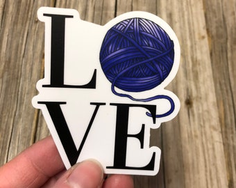 Yarn Sticker, blue pink orange yarn stickers, vinyl decal, yarn love