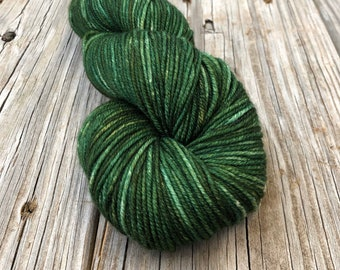 forest green Hand Dyed Worsted Weight Yarn, Land Ho! Treasured Warmth