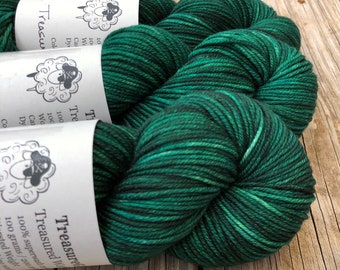 green Hand Dyed Worsted Weight Yarn, Treasure of the Emerald Isle, Treasured Warmth