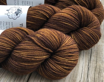 Chocolate Brown Hand Dyed DK Yarn, Walk the Plank, DK Treasures