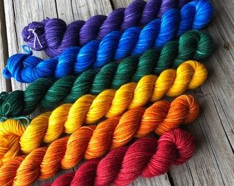 Rainbow Gradient Sock Yarn Mini Skein Set, Treasured Toes Sock Yarn, miniskein set, miniskeins