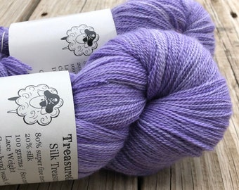 Hand Dyed Lace Weight Yarn, lilac violet purple, Avast ye Wildcats, Silk Treasures Lace Yarn, silk superfine merino