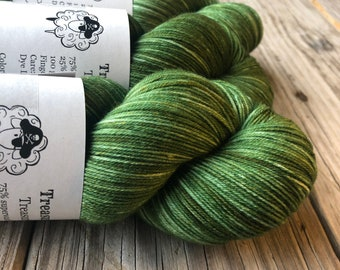 Hand Dyed Sock Yarn, Forest Green, Everglades Excursion, Treasured Toes Sock Yarn