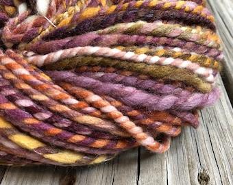 Subtle Beauty Handspun yarn Soft Falkland Wool Yarn Bulky Weight pastel gold orange brown rust burgandy green Two Ply 2 Ply 107 yards