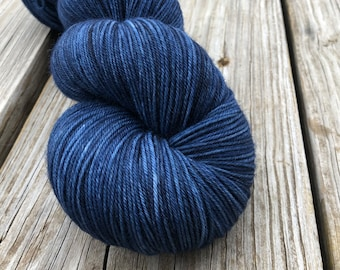Hand Dyed Sock Yarn, navy blue, Davy Jones' Locker, Treasured Toes