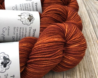 copper Hand Dyed Worsted Weight Yarn, Copper Cove, Treasured Warmth