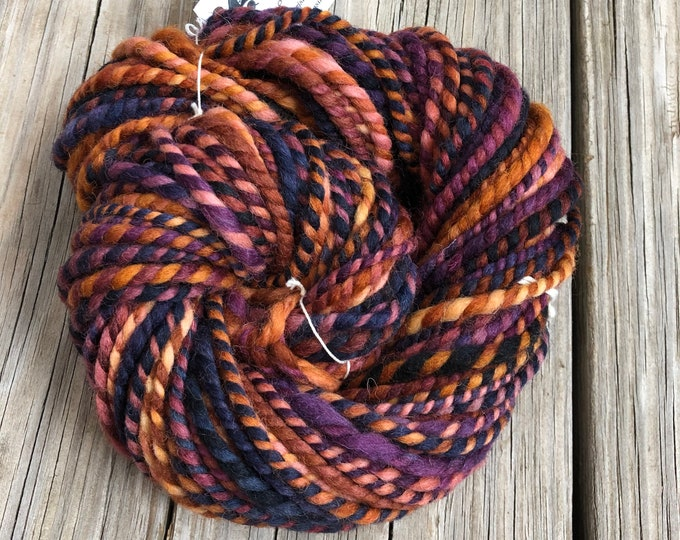 Handspun yarn Shetland Wool Yarn Bulky Weight burgandy rust navy black orange pink mohogany brown Two Ply 2 Ply 53 yards