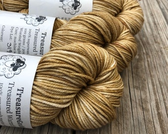 tan Hand Dyed Worsted Weight Yarn, Sandy Beach, Treasured Warmth