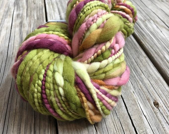 Handspun Thick and Thin Art Yarn thread plied 84 yards merino wool Monet's Paradise Spring Green plum purple pink