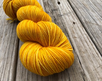 goldenrod yellow Hand Dyed DK Yarn, Poseidon's Trident, DK Treasures