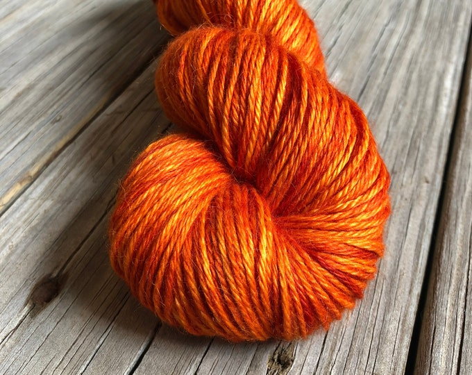 Hand Dyed Treasured DK Luxe Yarn Poseidon's Lusty Wench pumpkin orange colorway 246 yards baby alpaca silk cashmere luxury yarn sport weight