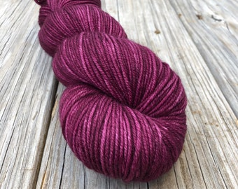 wine magenta Hand Dyed Worsted Weight Yarn, Song of the Sirens, Treasured Warmth