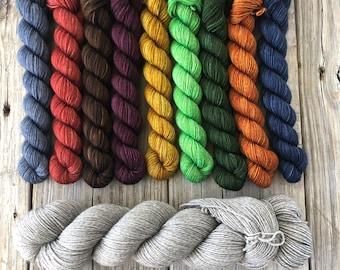 Mini Skein Set, Sock Yarn Miniskeins, hand dyed yak sock yarn, Set of 8 minis with full sized skein