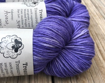 lilac purple Hand Dyed Worsted Weight Yarn, Avast ye Wildcats, Treasured Warmth