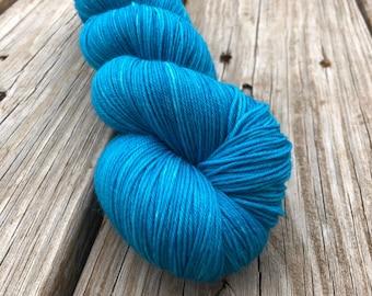 Mermaid's Curse   Treasured Toes Sock Yarn   turquoise teal blue