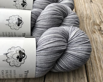 Hand Dyed Sock Yarn, Silver Gray, Pieces of Eight, Treasured Toes Sock Yarn