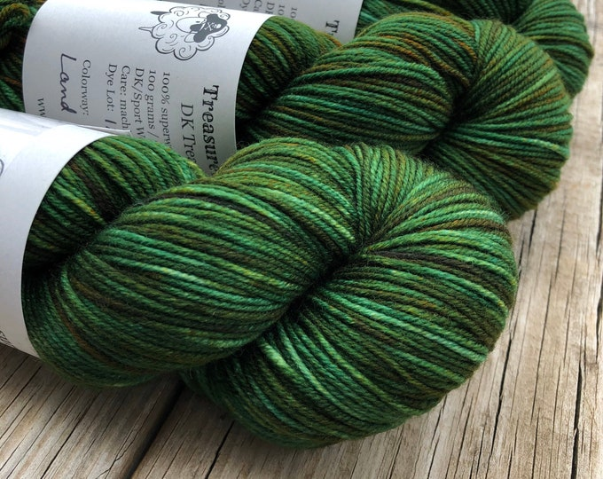 Featured listing image: forest green Hand Dyed DK Yarn, Land Ho! DK Treasures
