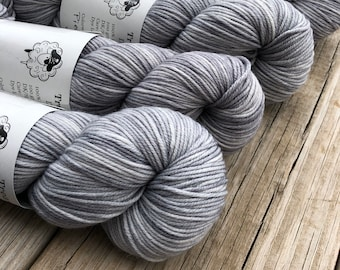 silver gray Hand Dyed DK Yarn, Pieces of Eight, DK Treasures