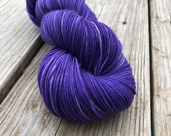 Hand Dyed Sock Yarn, royal purple, King's Cloak, Treasured Toes