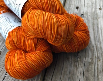 Hand Dyed Sock Yarn , Orange, Lusty Wench, Treasured Toes Sock Yarn