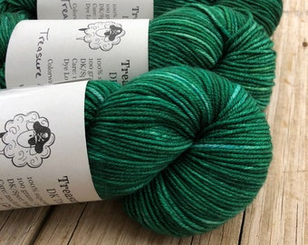 emerald green Hand Dyed DK Yarn, Treasure of the Emerald Isle, DK Treasures