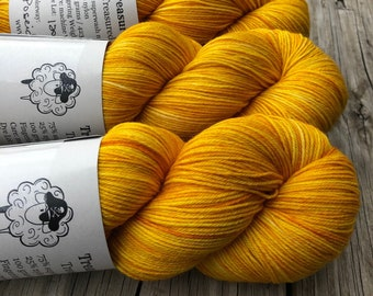 Hand Dyed Sock Yarn, Goldenrod Yellow, Poseidon's Trident, Treasured Toes Sock Yarn