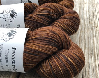 Hand Dyed Sock Yarn, Chocolate Brown, Walk the Plank, Treasured Toes Sock Yarn