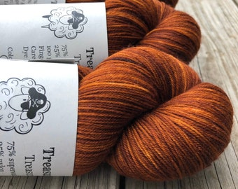 Hand Dyed Sock Yarn, Copper Cove, Treasured Toes Sock Yarn