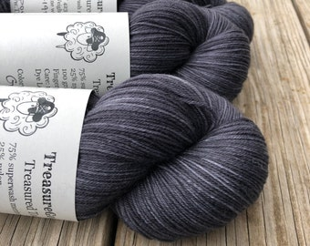 Hand Dyed Sock Yarn, Charcoal Gray Black, Gunpowder, Treasured Toes Sock Yarn