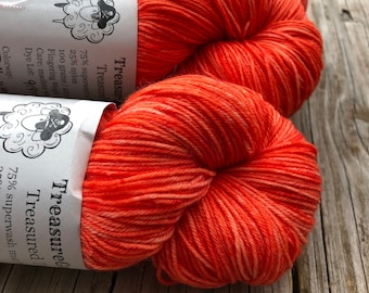 Orange Hand Dyed Sock Yarn, Polly Want A Cracker, Treasured Toes Sock Yarn