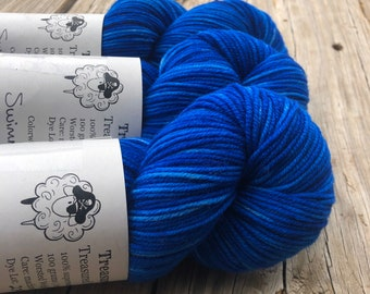 Swimmin with the Fishes | Treasured Warmth Worsted Weight Yarn | royal blue