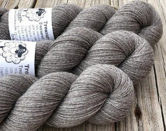 Hand Dyed YAK Sock Yarn, natural undyed gray, Sandy Shores, Treasured Yak Toes