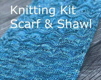 Knitting Scarf Kit | Shawl Kit | blue green teal | City of Fountains |  Sock Yarn Kit