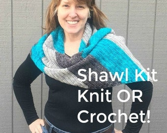 Shawl Knitting KIT, Shawl Crocheting KIT, DIY craft kit, hand dyed dk yarn, silver gray magenta red orange green brown