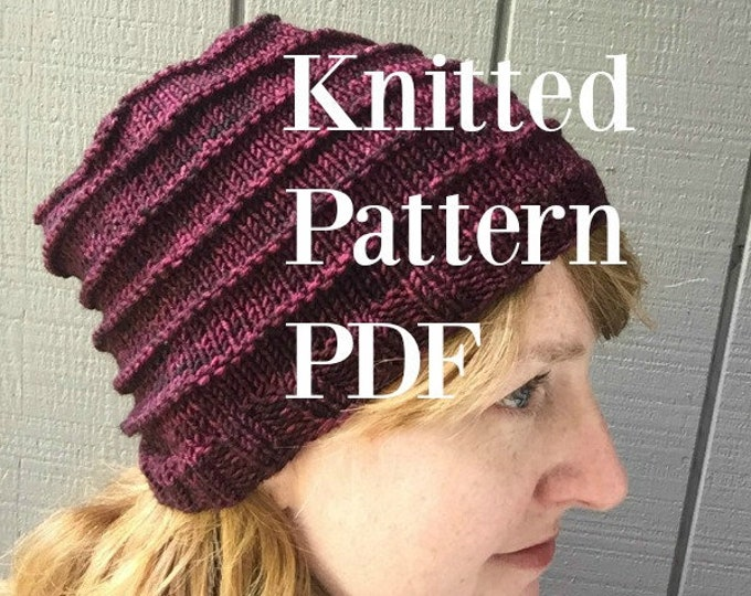 One Skein Hat Knitting Pattern Treasured Warmth Hat bulky yarn worsted weight yarn Simple Knitting Pattern burgandy red silver gray PDF