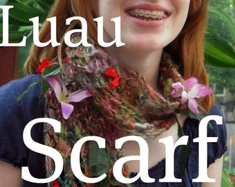 PDF Luau Scarf Handspun art yarn knitting pattern download by TreasureGoddess artyarn SELL items knit from this