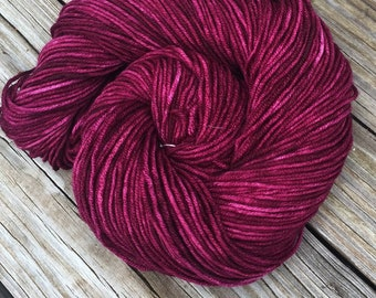 Song of the Sirens Hand Dyed Worsted Weight Yarn Burgandy cranberry Hand Painted yarn 218 yards Superwash Merino Wool ready to ship yarn swm
