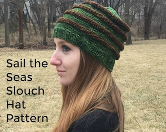 PDF Sail the Seas Slouch Hat Knitting Pattern PDF Digital Download treasuregoddess DK Yarn Sport Superwash Merino Wool ridged ribbing toque