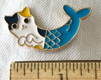 MerCat enamel pin, cat mermaid, gift for knitters crocheters pirates