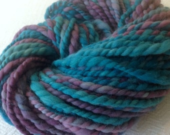 If Pirates Went to Prom Handspun yarn Soft Wool Yarn Bulky Weight plum purple turquoise teal Two Ply 2 Ply 56 yards hand spun ready to ship