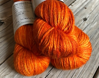 firey orange cashmere silk alpaca yarn, Hand Dyed DK Yarn, Lusty Wench, Treasured DK Luxe