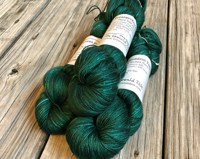Hand Dyed Pure Silk Fingering Weight Yarn 100% mulberry silk Treasure of the Emerald Isle Green 436 yards ready to ship
