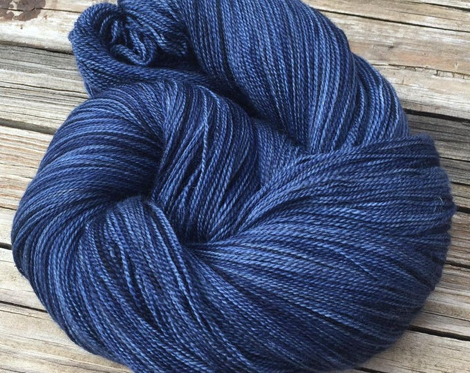 hand dyed lace weight yarn Fathoms Deep Navy Blue Silk Treasures Lace yarn merino silk 875 yards hand dyed yarn ready to ship yarn midnight