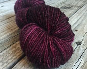 Feelin Fine with Blackberry Wine Yarn Hand Dyed Worsted Weight Yarn 218 yards Superwash Merino Wool ready to ship yarn Hand burgandy purple