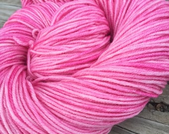 Damsel in Disress Hand Dyed Pink Worsted Weight Yarn Hand Painted yarn 218 yards Superwash Merino Wool bubblegum carnation rose baby swm
